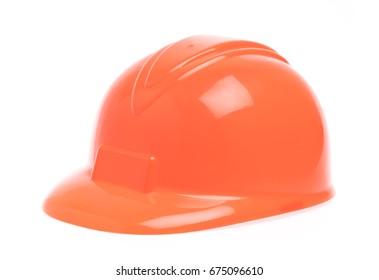 Orange of safety hat  isolated on white background