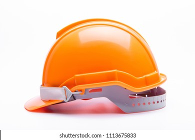 Orange safety helmet construction on white background.