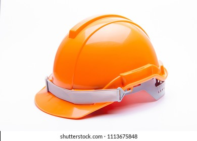 Orange safety helmet construction on white background