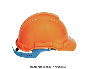 Orange safety helmet from front view isolated white background.