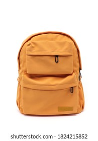 Orange satchel or backpack made of fabric on a white background