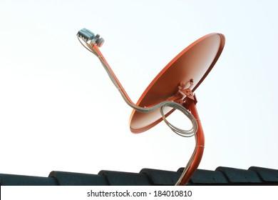 Orange satellite on roof
