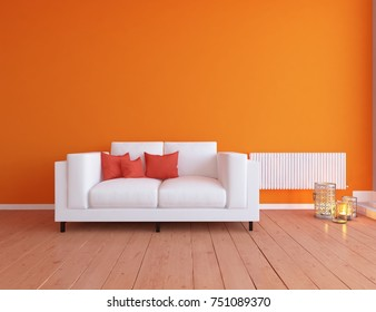 Orange scandinavian room interior. Nordic interior. 3d illustration