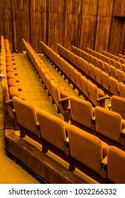 Orange seats in rows