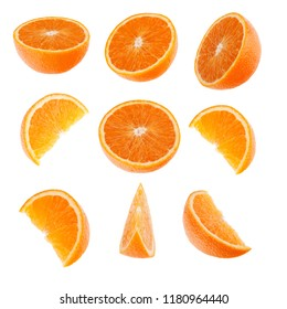 Orange segments isolated on white background. Food background.