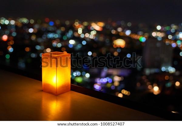 Miraculous Orange Shade Rectangular Table Lamp Blur Stock Photo Edit Home Interior And Landscaping Ponolsignezvosmurscom