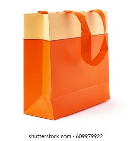 Orange shopping or gift bag isolated over the white background