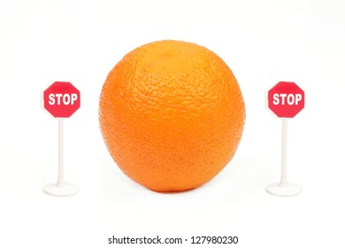 "Orange and the signs ""Stop"" from two parties on a white background"