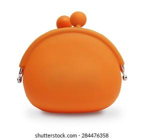 Orange silicone coin purse isolated over white