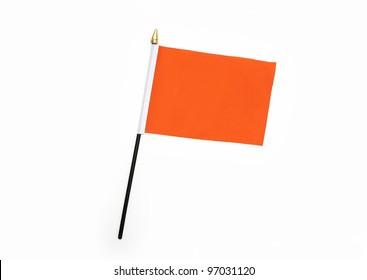 Orange Silk Flag isolated on white background