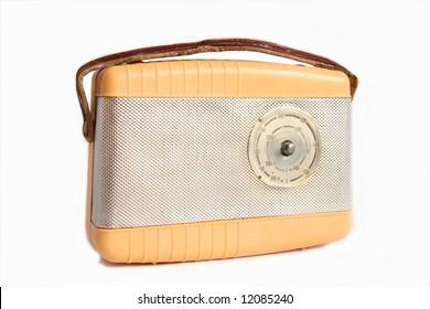 Orange and silver vintage radio isolated on white