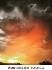 Orange Skies post monsoon storm in the Sonoran Desert