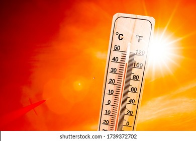 Orange sky with bright sun and thermometer symbolizing climate change and global warming