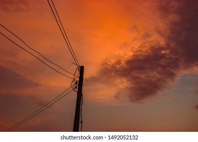 Orange sky in the evening, beautiful sunset, Thailand - Shutterstock ID 1492052132