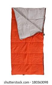 orange sleeping bag on white background