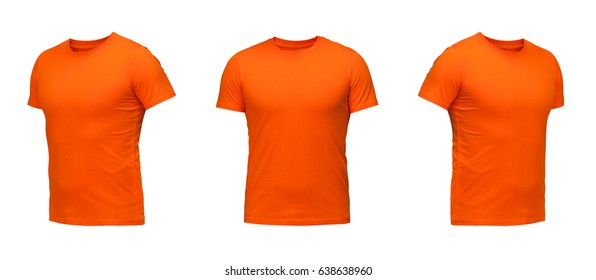 Orange sleeveless T-shirt. t-shirt front view three positions on a white background