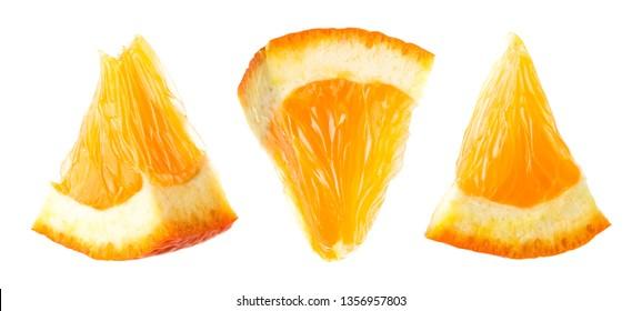 Orange slice. Orange fruit isolate. Orang set on white.