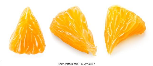 Orange slice. Orange fruit top view. Orang set isolate.