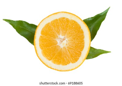 orange slice with green leaves on the white background