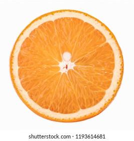 Orange slice isolated on white background without shadow