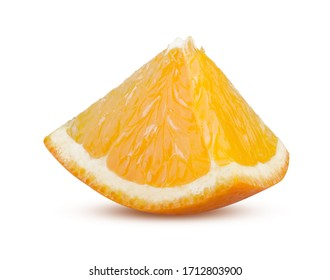 Orange Slice Isolated on White Background. Juicy Ripe Orange Fruit Sliced Close Up. Tasty Refreshing Citrus. Beautiful Fruit Slice. Organic Food and Nutrition Concept