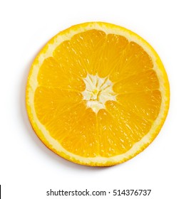 Orange slice isolated on white background, top view