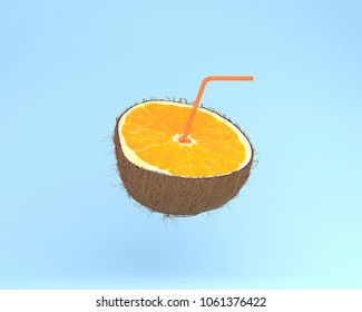 Orange slice, juice with Straws in coconut on pastel blue background. minimal fruit concept. Idea creative foods and drinks that are typically enjoyed at summer times festivals around the world