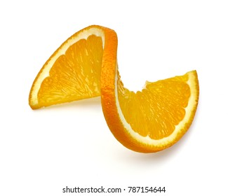 Orange slice twist on white background including clipping path