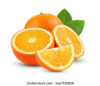 orange sliced isolated on the white background full depth of field