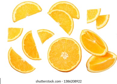 orange with slices isolated on white background. healthy food. top view