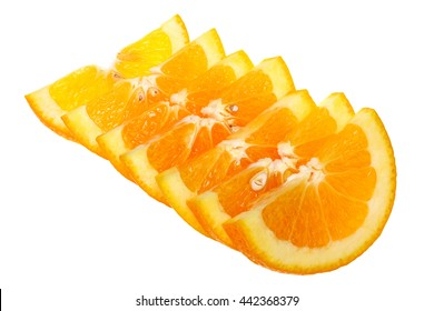 Orange slices isolated on white background with clipping path