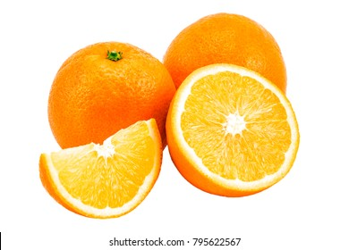 orange with slices isolated on a white background.