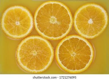 orange slices in juice background