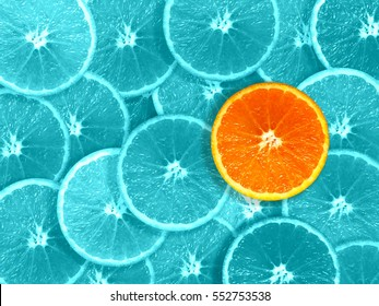 orange slices odd one out graphics