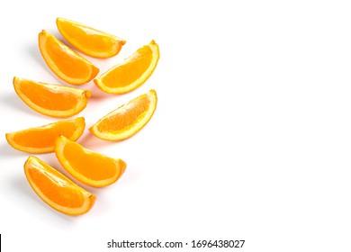 Orange slices on a white background for making lemonade