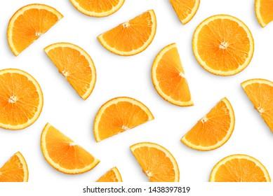 Orange slices as pattern isolated on white background
