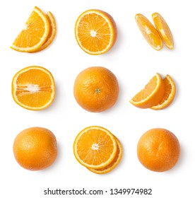 Orange slices, whole orange, half of orange isolated on white background. Top view.