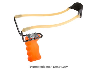 orange slingshot or catapult for throwing bait, fishing, on a white background, isolate