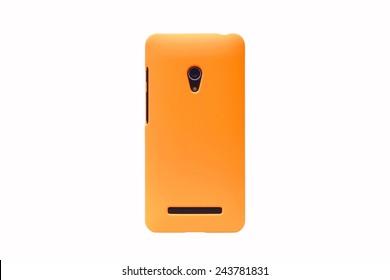 orange smartphone on isolated background