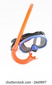Orange snorkel and blue mask isolated on white background