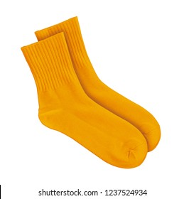 Orange socks on an isolated white background