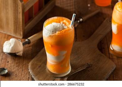 Orange Soda Creamsicle Ice Cream Float with a Straw