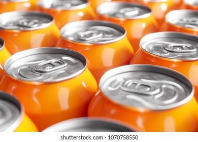 Orange soft drink cans. Macro shot. 3d render