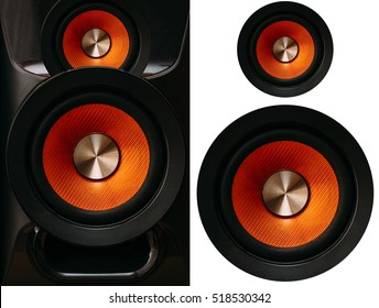 Orange Speakers on a white background