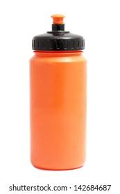 orange sport plastic water bottle on white