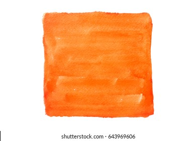 Orange square painted watercolor on white background