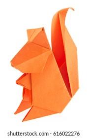 Orange squirrel of origami, isolated on white background.