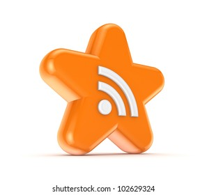 Orange star with RSS symbol.Isolated on white background.3d rendered.