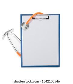 Orange Stethoscope over Clipboard Isolated