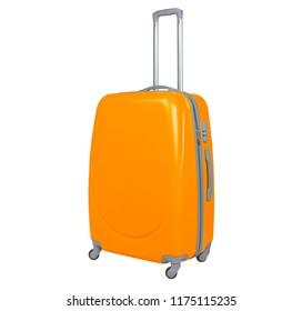 Orange suitcase isolated on white background. Polycarbonate suitcase isolated on white. Orange suitcase.